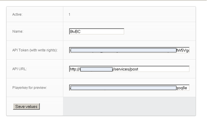 Brightcove settings page