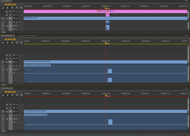 Adobe Premiere CC timelines comparison (original and exported -> Imported media: MP4-AAC and AAC-MPEG)