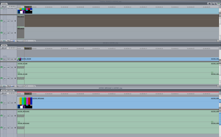 Final Cut 7 timelines comparison (original and exported -> Imported media: MOV XDCAM-PCM, and MOV MPEG4-AAC-LC)