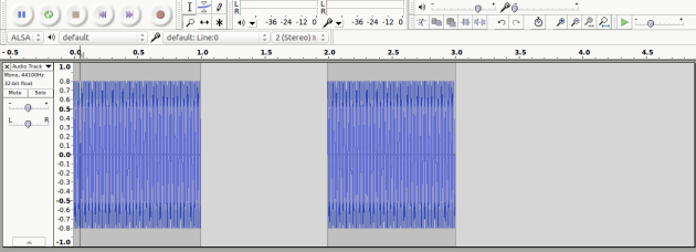 Audacity audio test time line